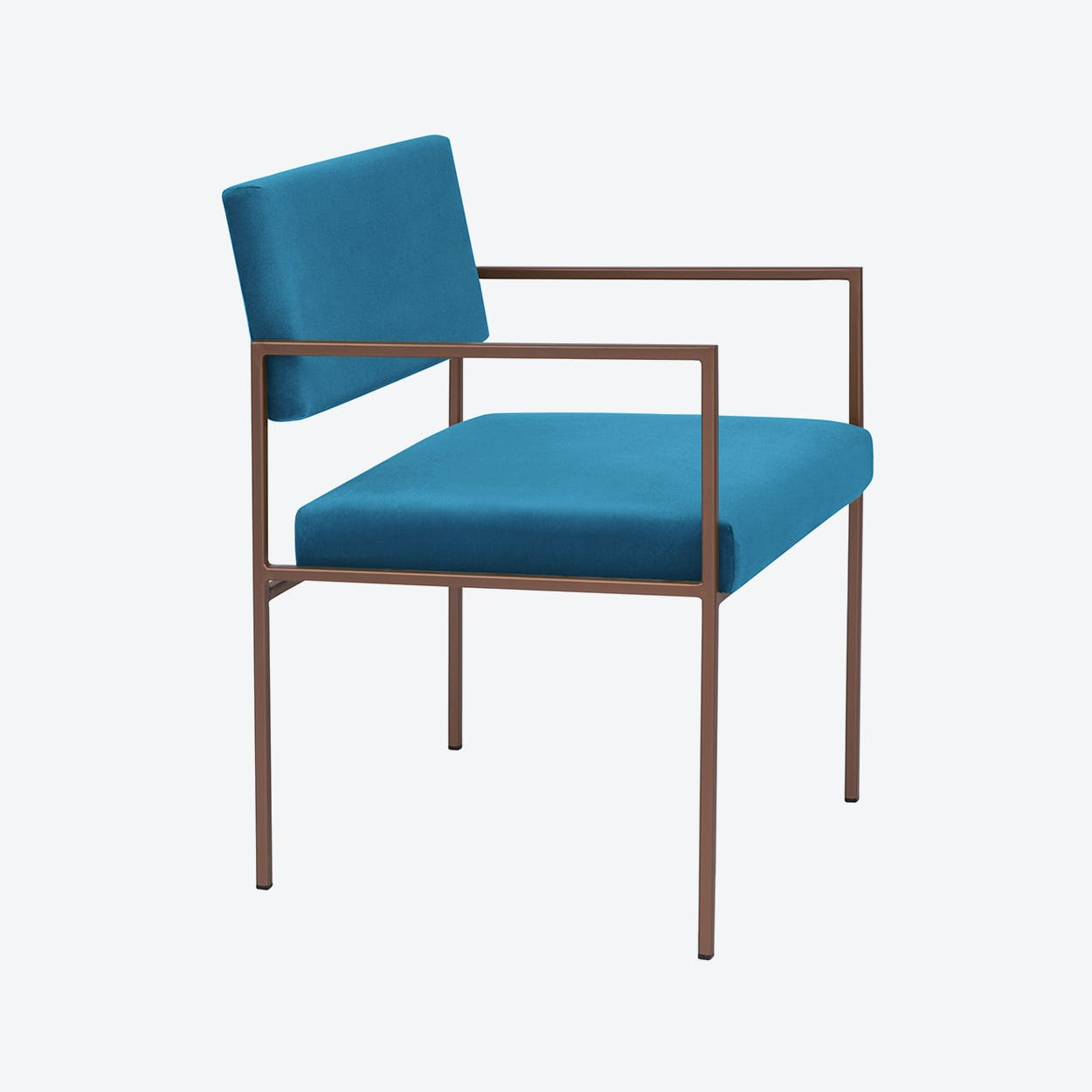 Cube Armchair Copper - Velvet-Line in Ocean-Blue