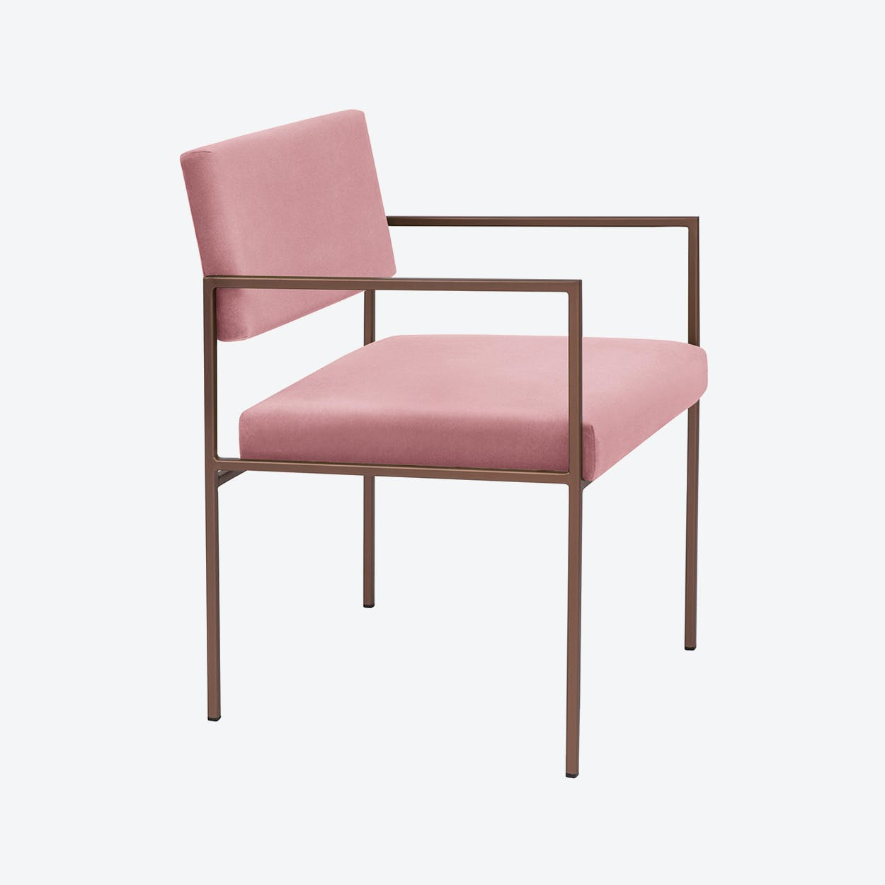 Cube Armchair Copper - Velvet-Line in Vintage-Pink