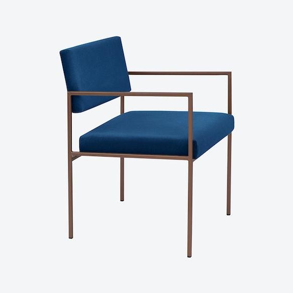 Cube Armchair Copper Velvet Line In Royal Blue By Sternzeit Design