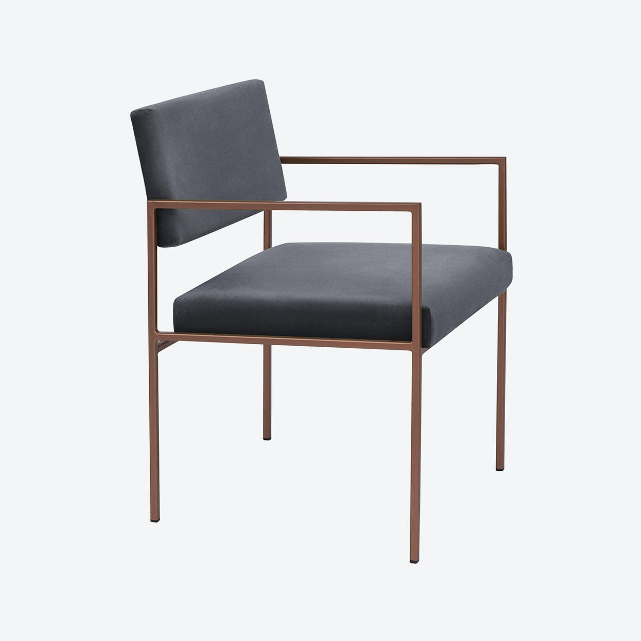 Cube Armchair Copper - Velvet-Line in Grey