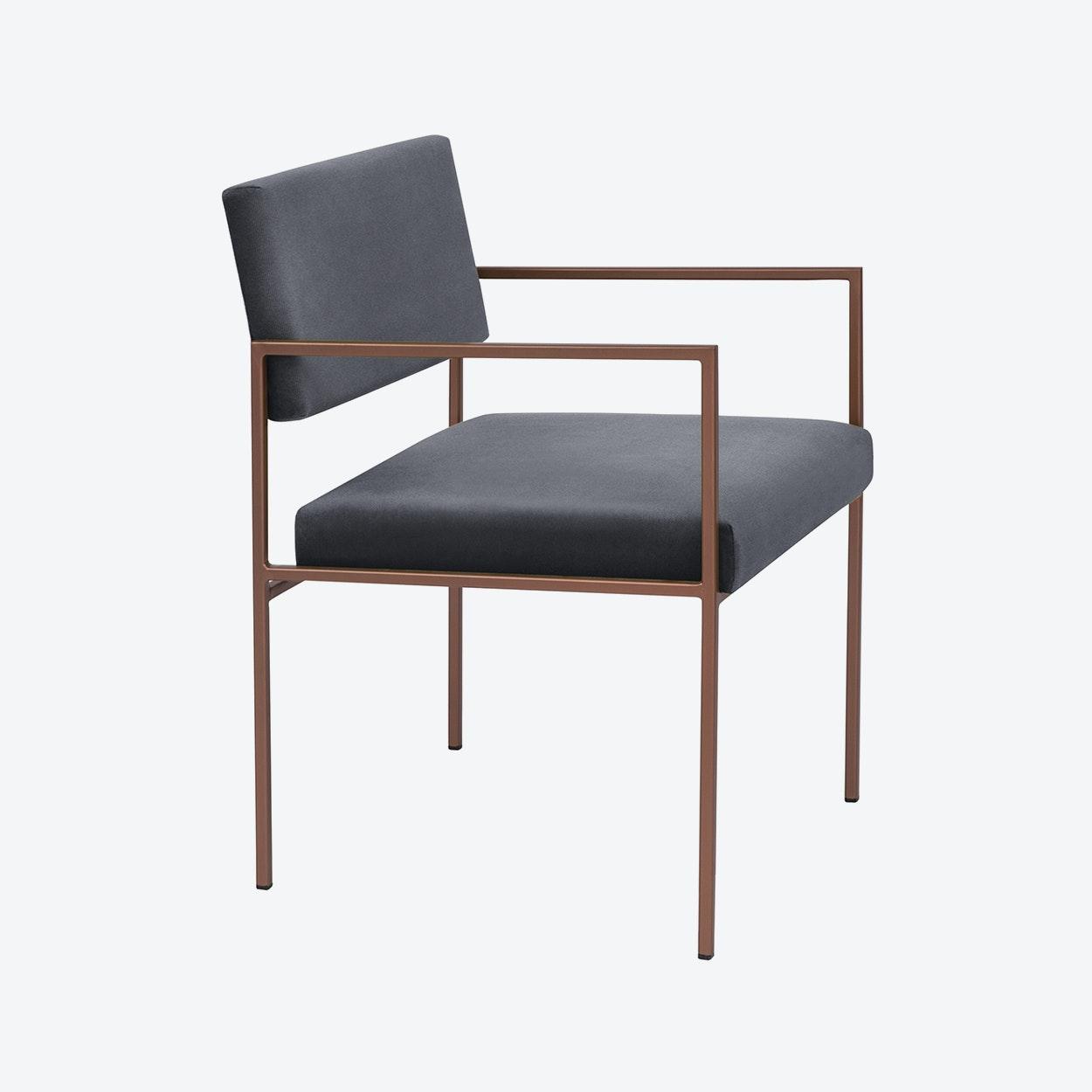 Cube Armchair Copper Velvet Line In Grey By Sternzeit Design Fy