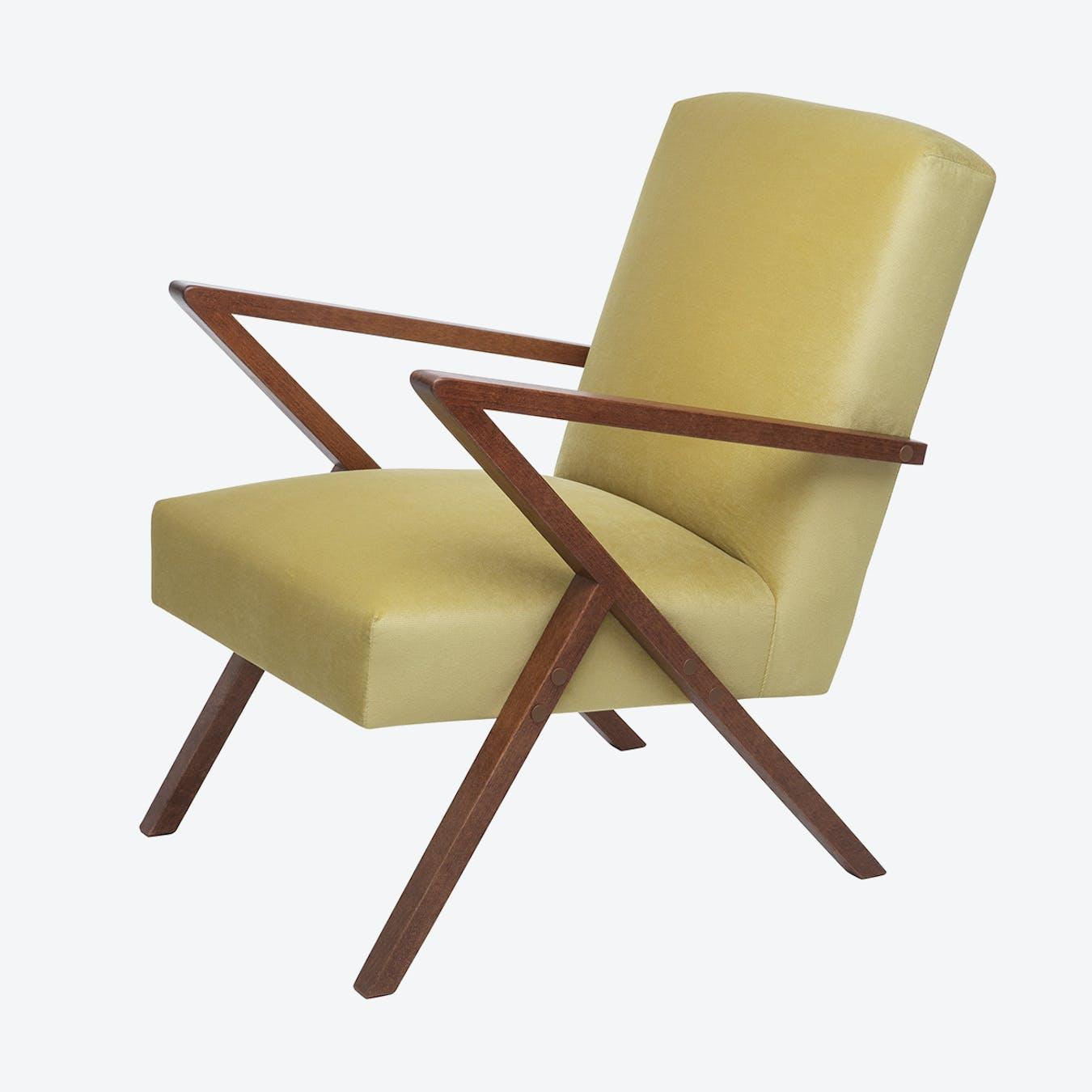 Retrostar Chair - Velvet Line in Lemon Yellow