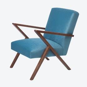 Retrostar Chair - Velvet Line in Ocean Blue