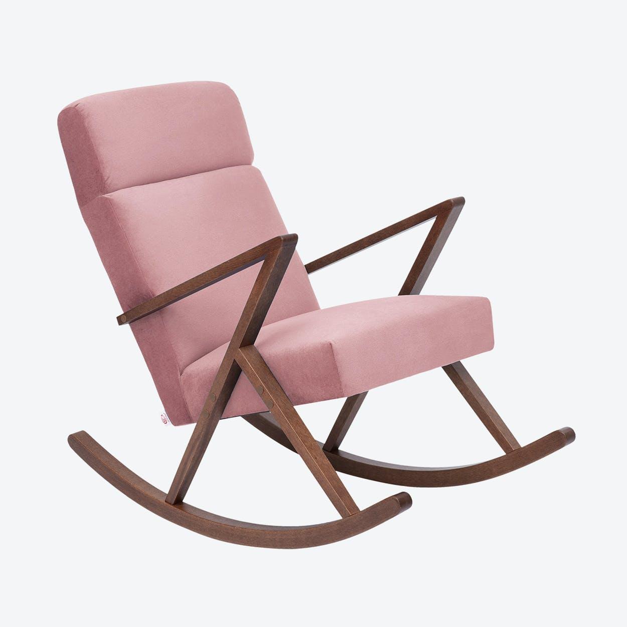 Retrostar Lounge Rocker - Velvet-Line in Vintage-Pink