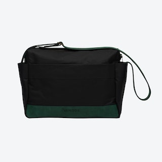 Messenger Bag in Charcoal and Malachite