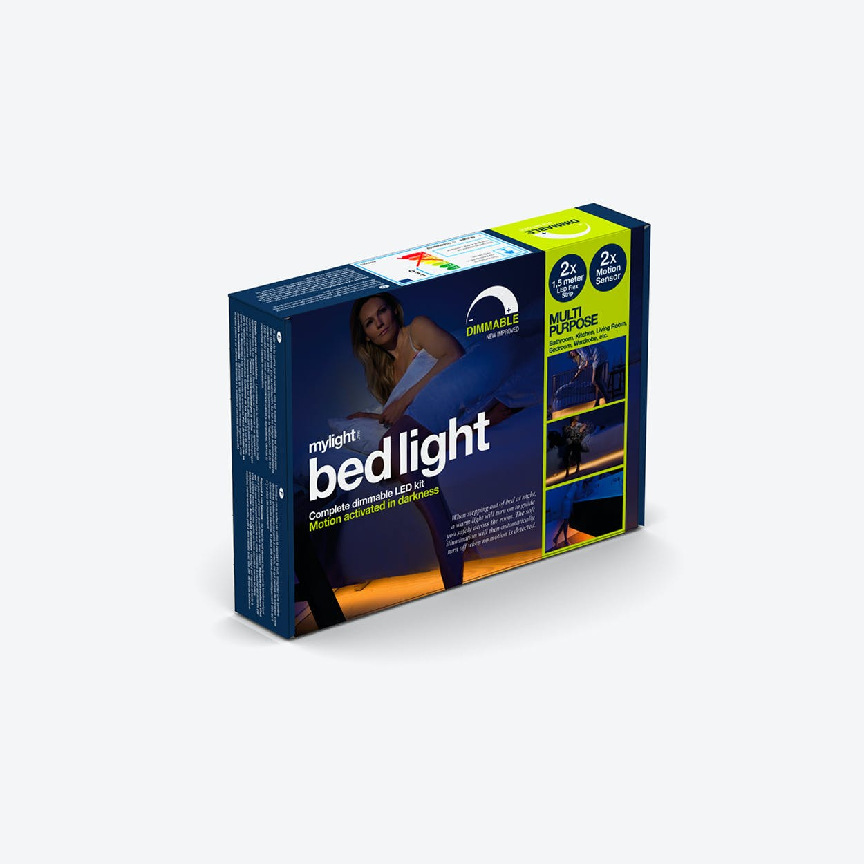 Bed Light - Dimmable LED Stripes with 2 Movement Sensors (EU Plug)