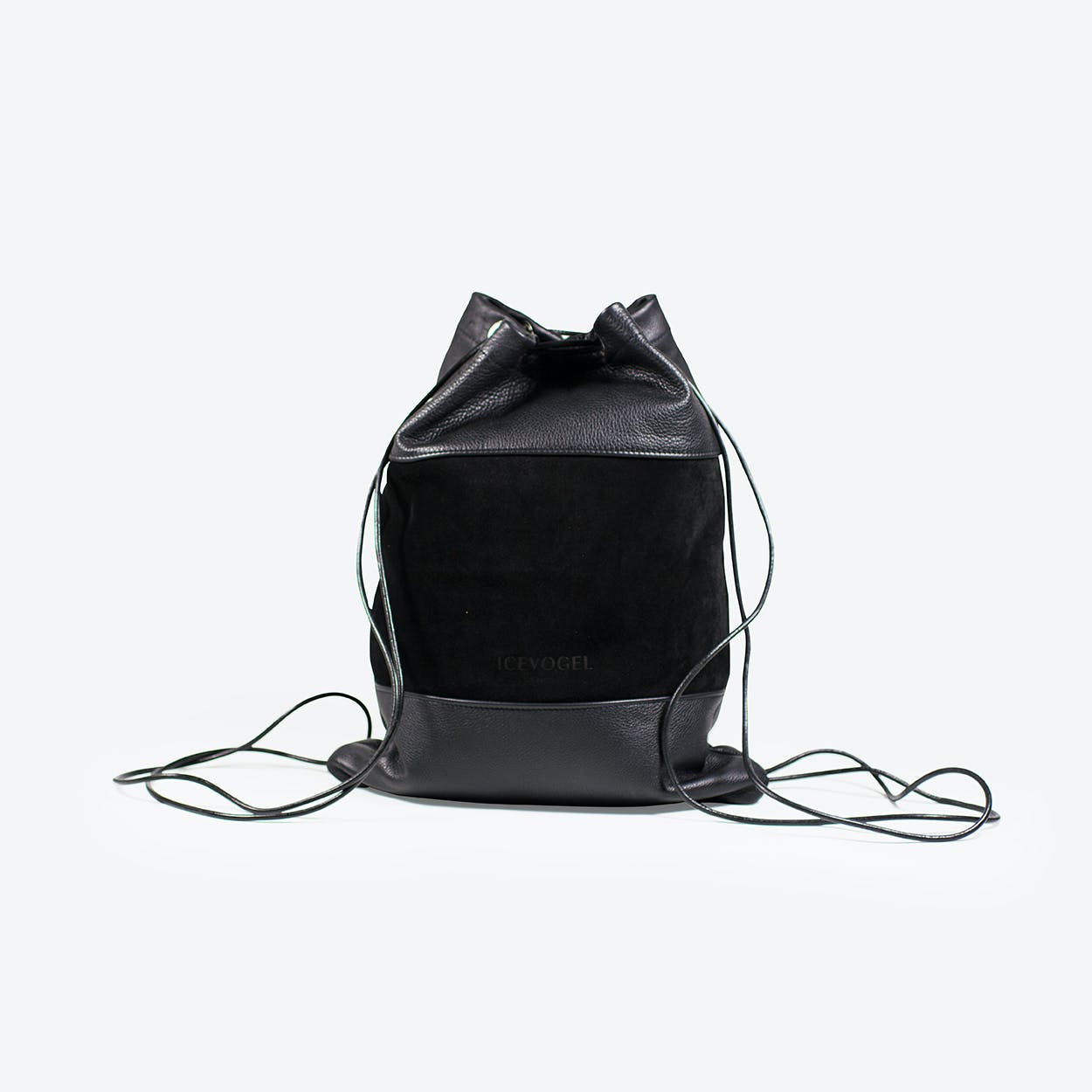 Backpack Kolkrabe in Black Cow Leather and Suede