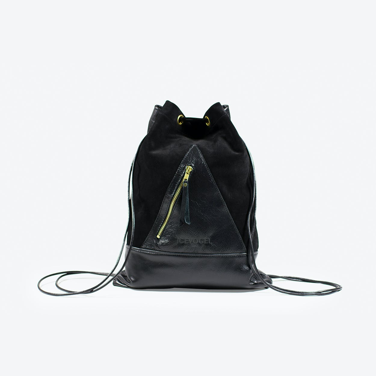 Backpack Saatkrähe in Black Cow Leather, Suede and Gold Fittings
