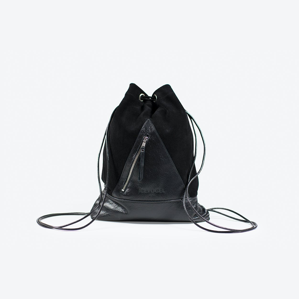 Backpack Saatkrähe in Black Cow Leather, Suede and Silver Fittings