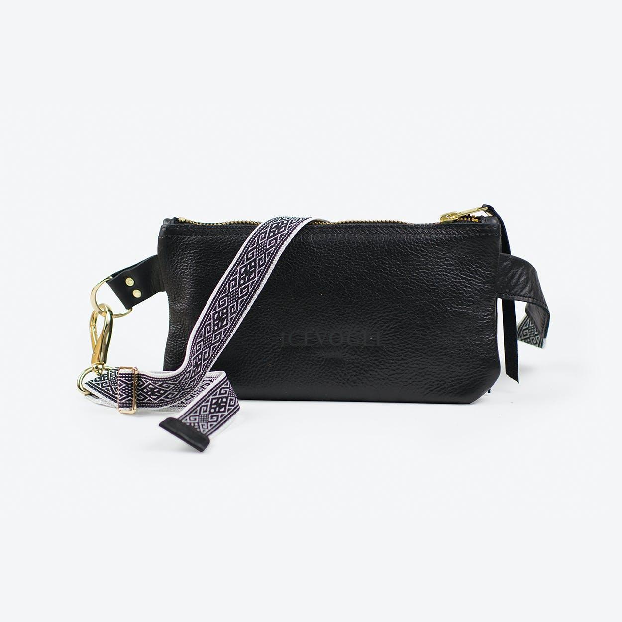 Hipbag Saatkrähe 1 in Black Cow Leather and Bohemian Strap