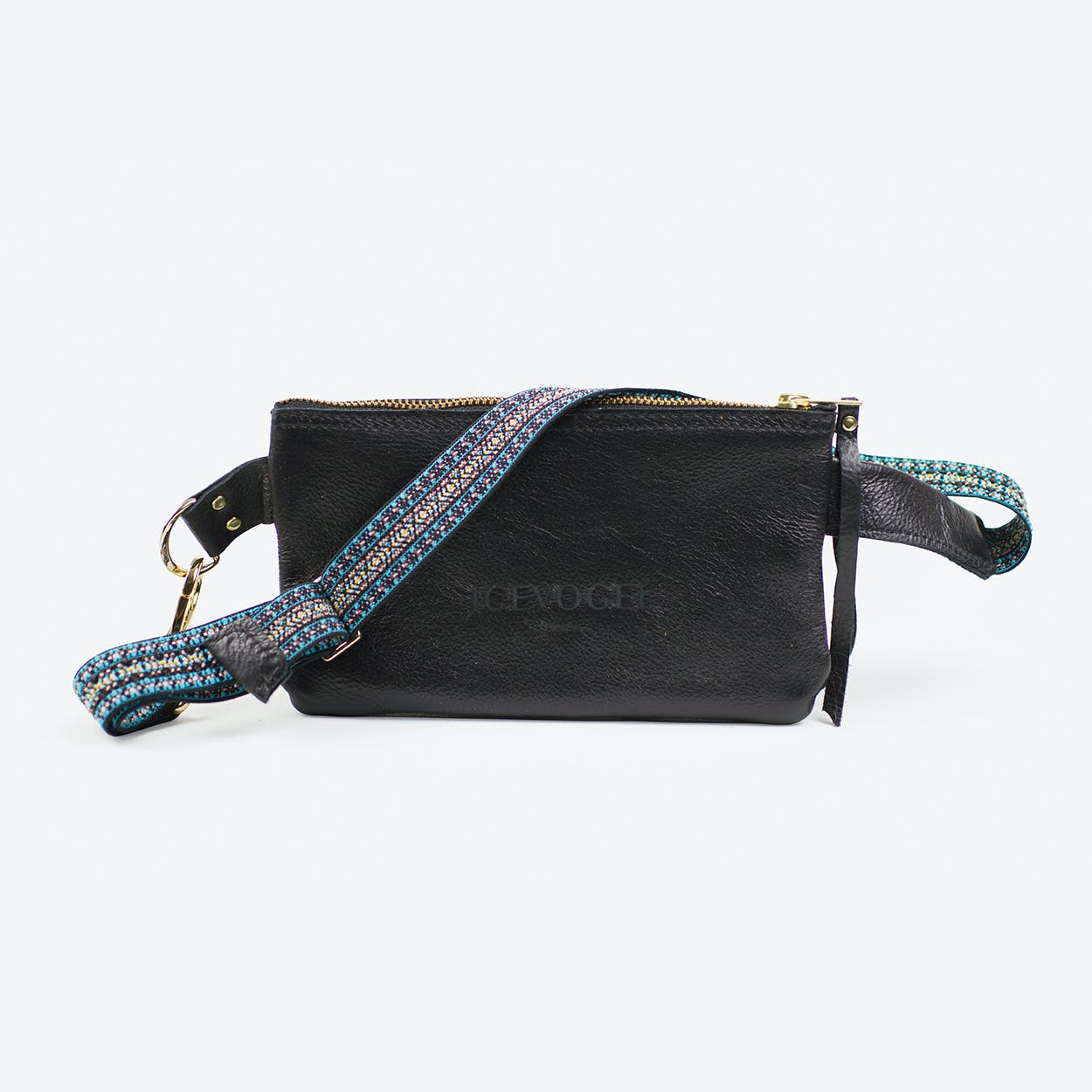 Hipbag Saatkrähe 2 in Black Cow Leather and Bohemian Strap