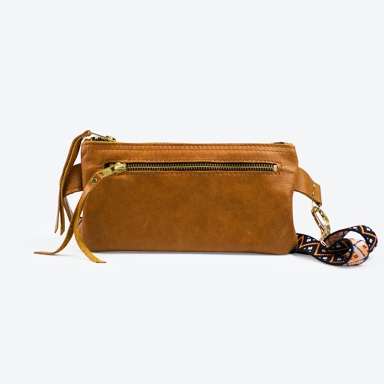 Hipbag Nachtigall in Tan Cow Leather and Bohemian Strap