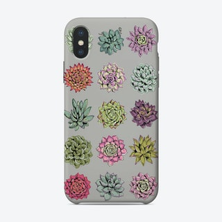 Succulents Light Grey iPhone Case