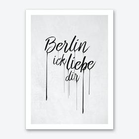 Berlin Ick liebe dir Art Print