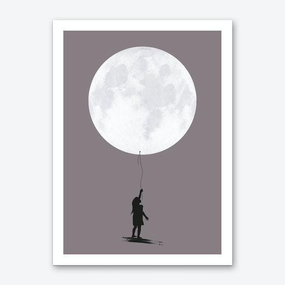 moon balloon art print by amy kurt fy