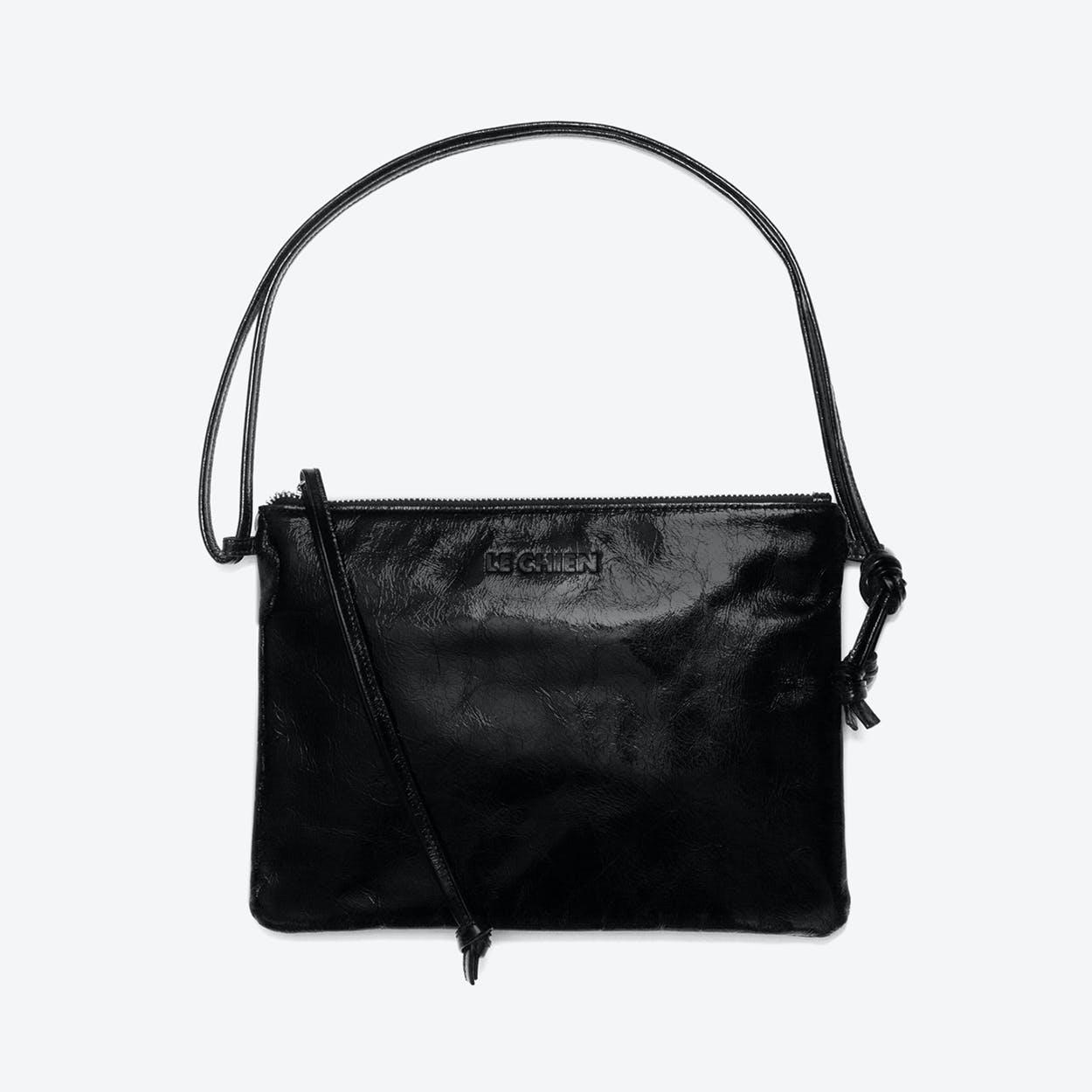 Pinscher Crossbody Bag in Black/Shine