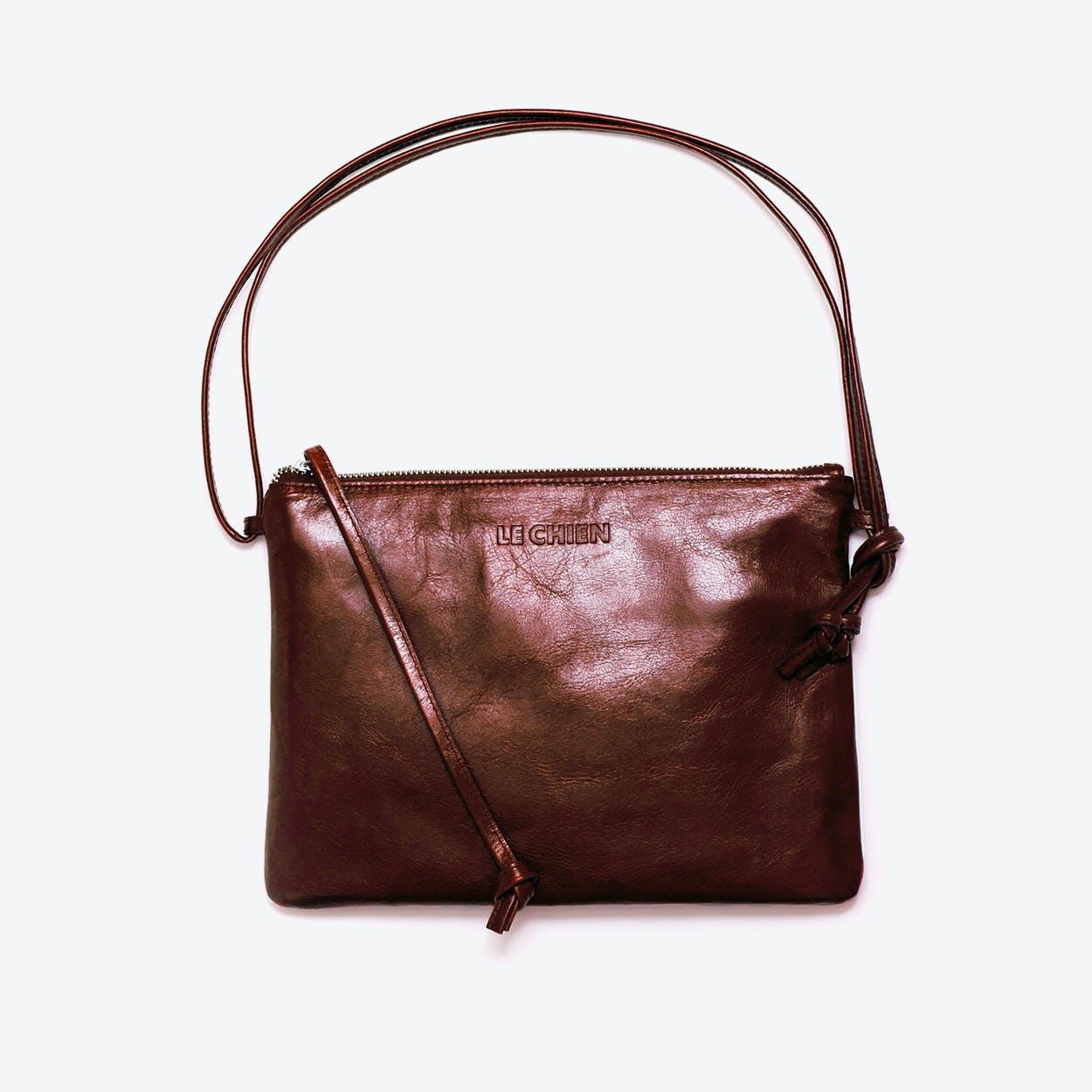 Pinscher Crossbody Bag in Chestnut/Shine