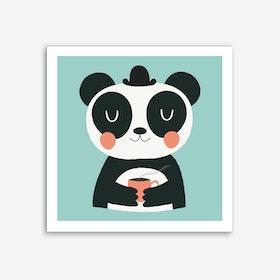 Panda Loves Coffee Art Print
