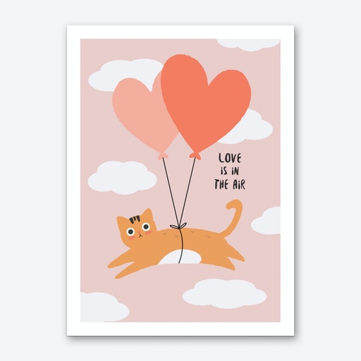 Love is in the Air Cat Art Print