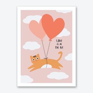 Love is in the Air Cat Art Print