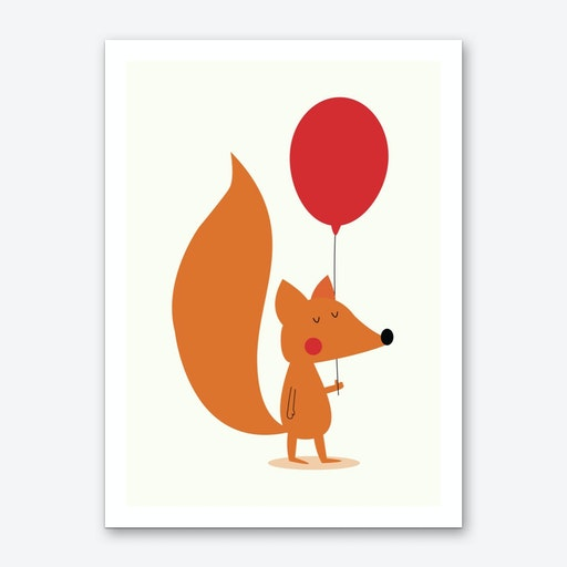 Fox With A Red Balloon Art Print