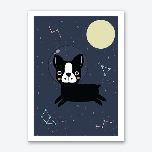 Boston Terrier In Space Art Print