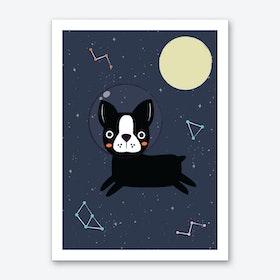 Boston Terrier In Space Art Print