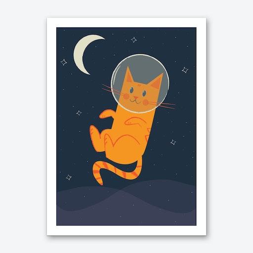 Floating Space Cat Art Print