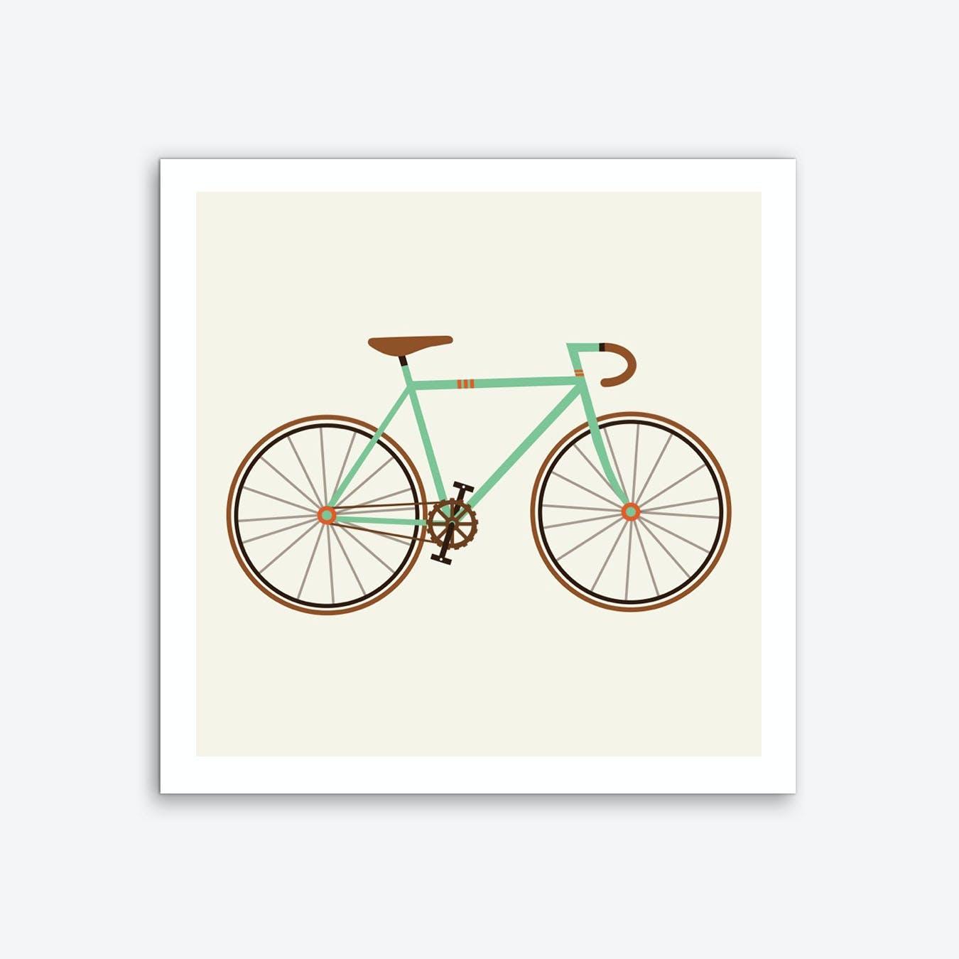 Green Fixie Art Print