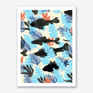 Black Fishes Art Print