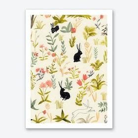 Black Rabbits Art Print