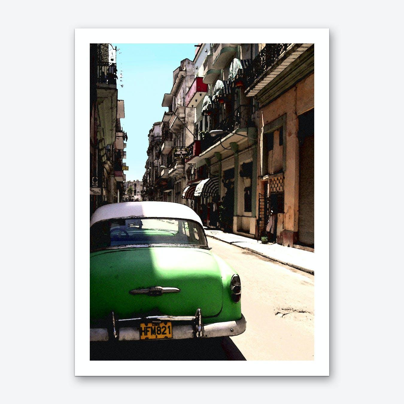 Green Cuban Car Art Print