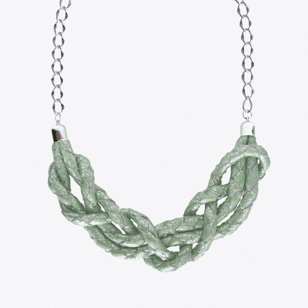 Braided Necklace in Mint