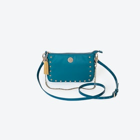 Pyramid Stud Crossbody Bag in Jade Green Nylon