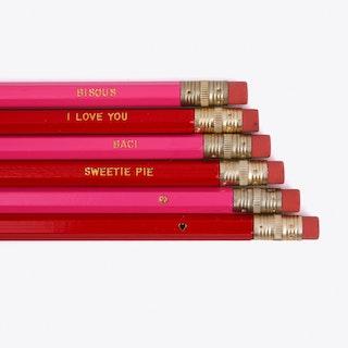 Pencils Set of 6 'Sweetie Pie'