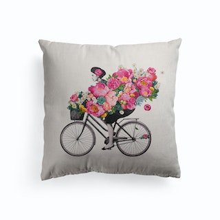 Floral Bicycle Canvas Cushion