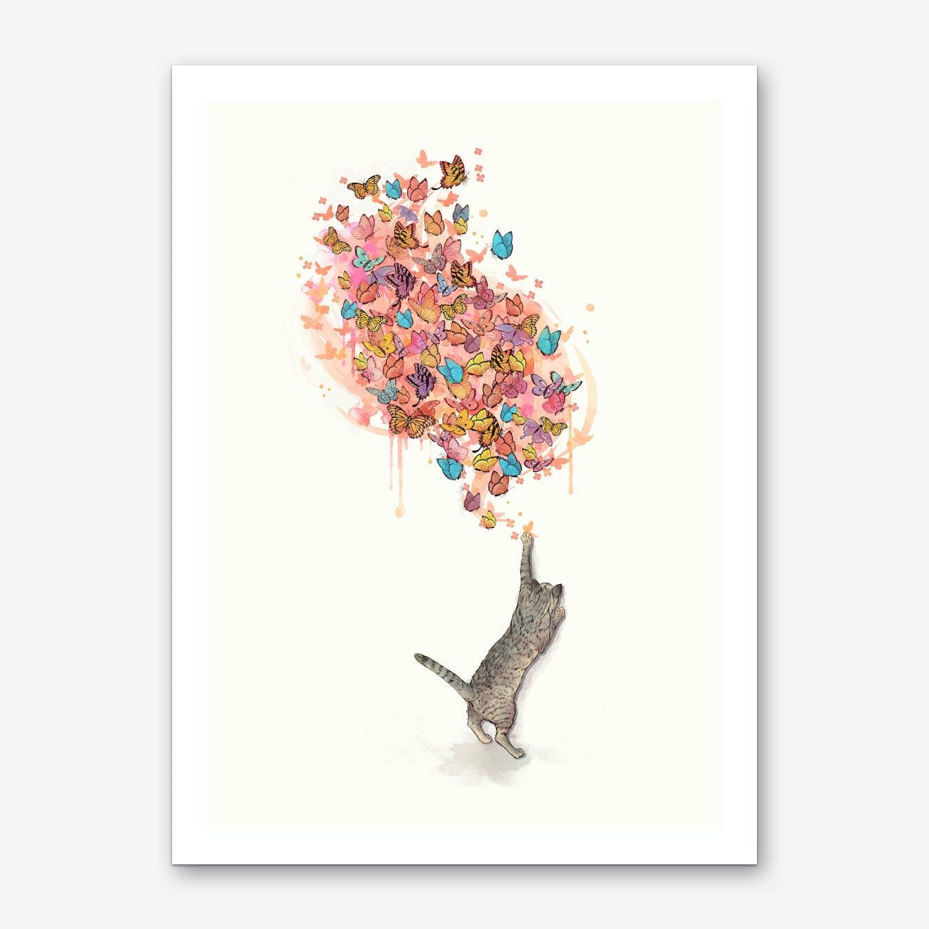 Cat Catching Butterflies Art Print