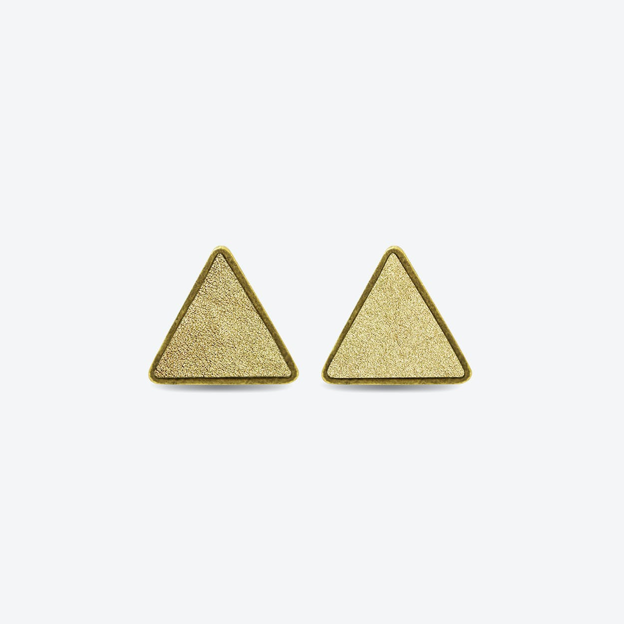 Leather Triangle Earrings in Sunrise Gold