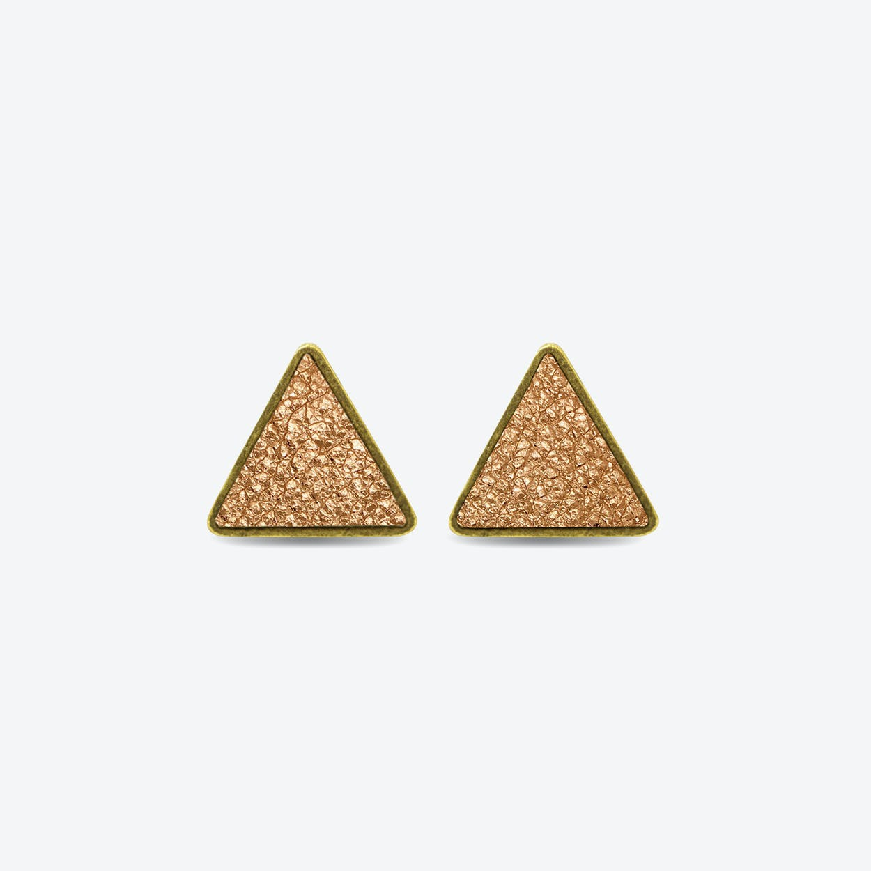 Leather Triangle Earrings in Blush Copper