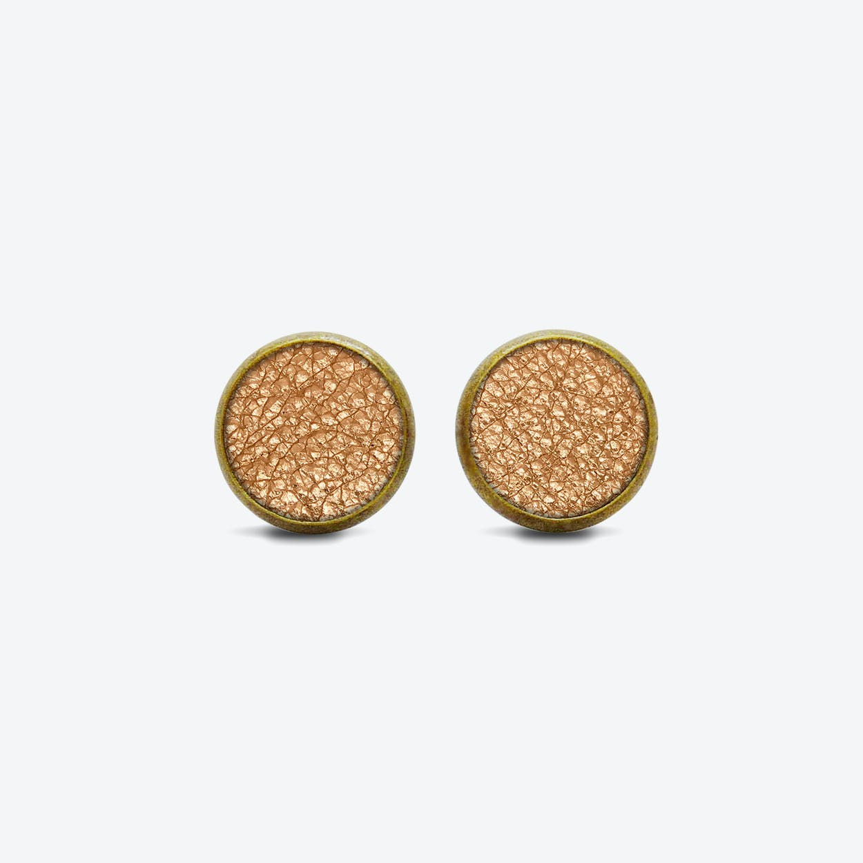 Leather Dot Earrings in Blush Copper