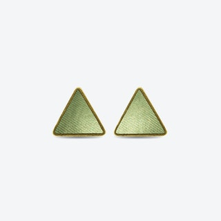 Leather Triangle Earrings in Nymph Green