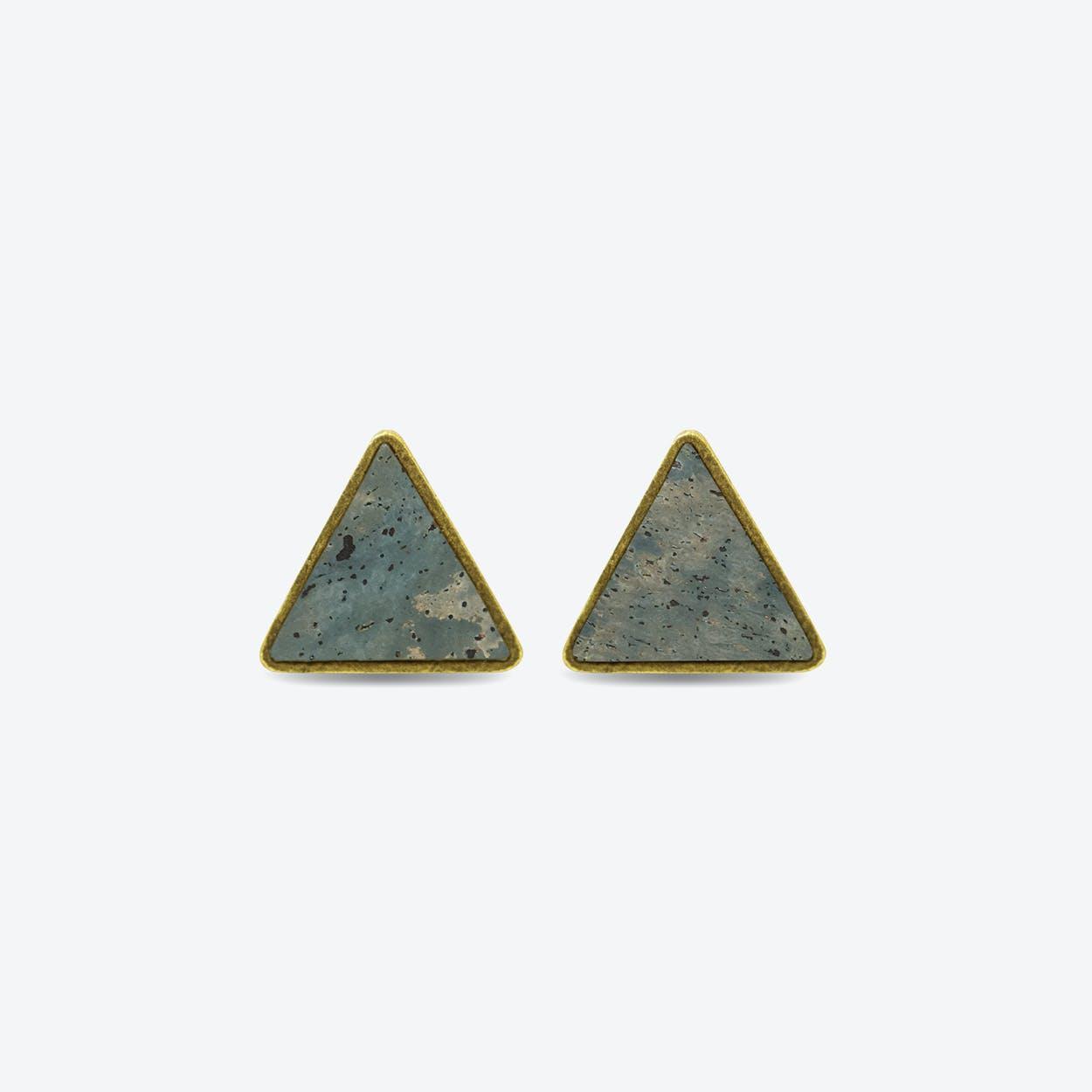 Cork Triangle Earrings in Smoke Green