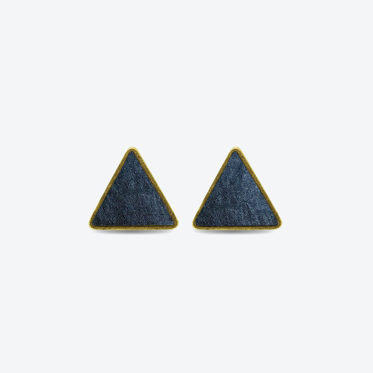 Leather Triangle Earrings in Midnight Blue