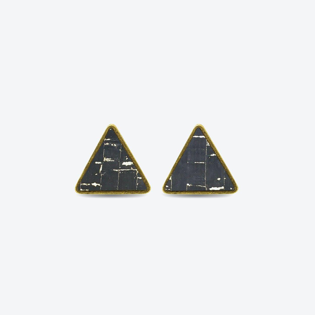 Cork Triangle Earrings in Black Sky
