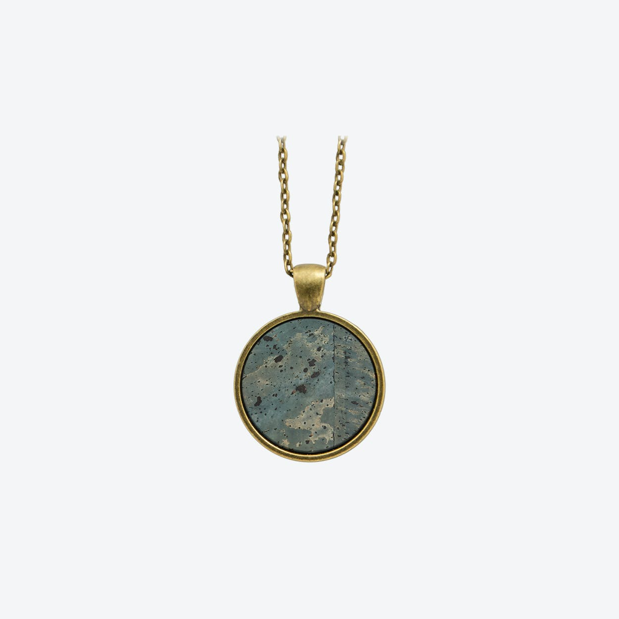 Cork Dot Necklace in Smoke Green