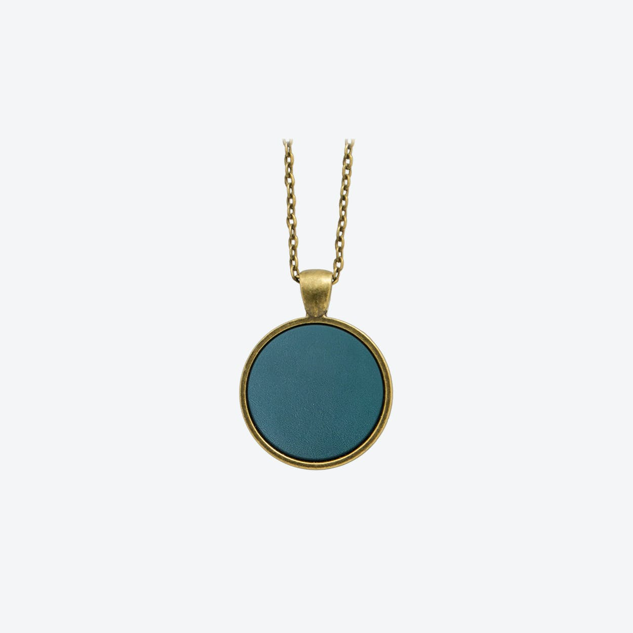 Leather Dot Necklace in Deep Petrol