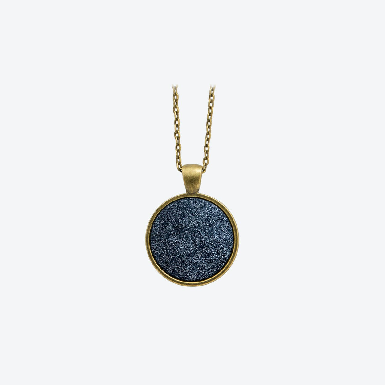 Leather Dot Necklace in Midnight Blue