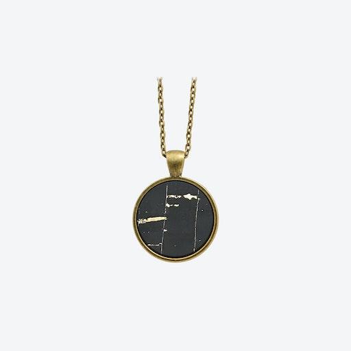 Cork Dot Necklace in Black Sky