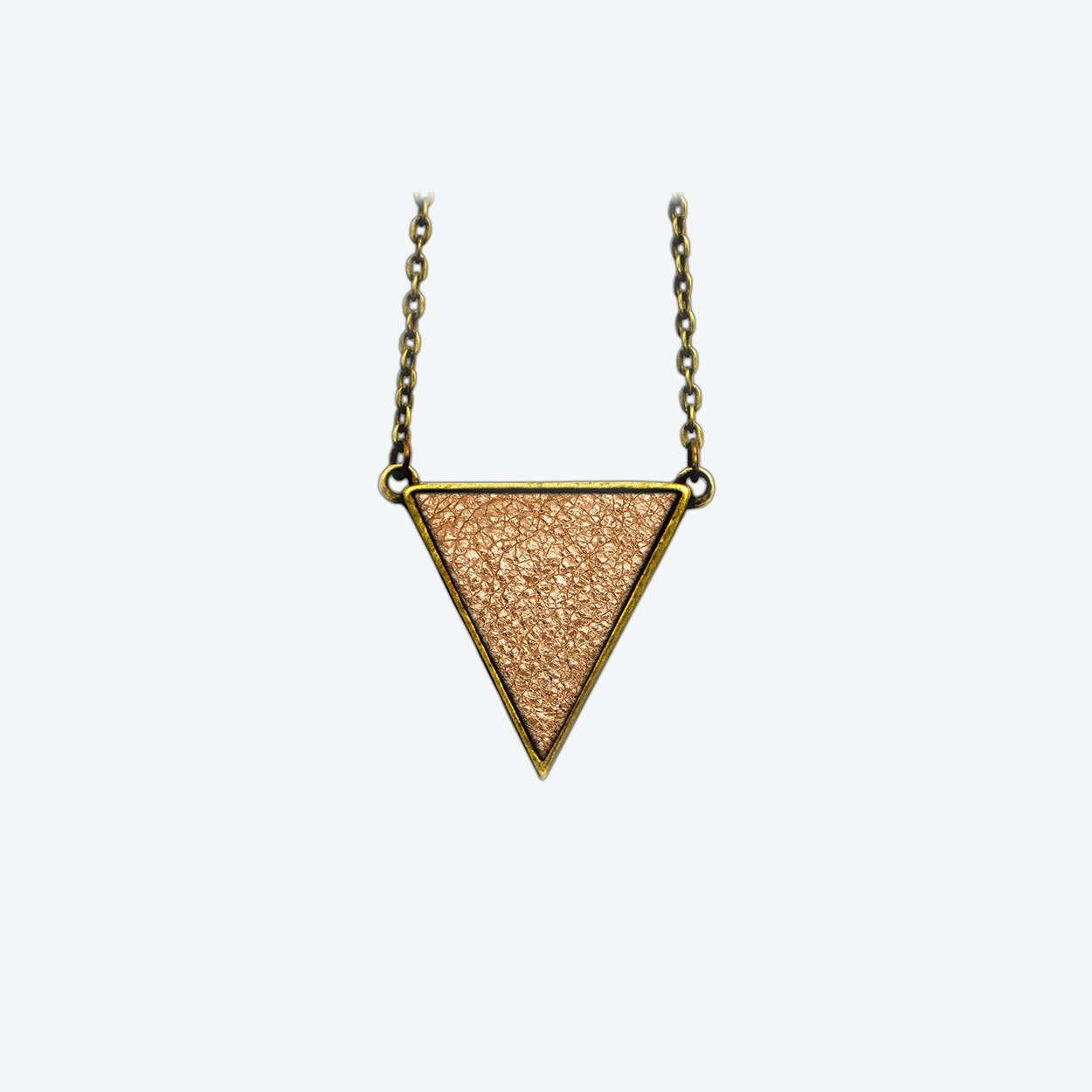 Leather Triangle Necklace in Blush Copper