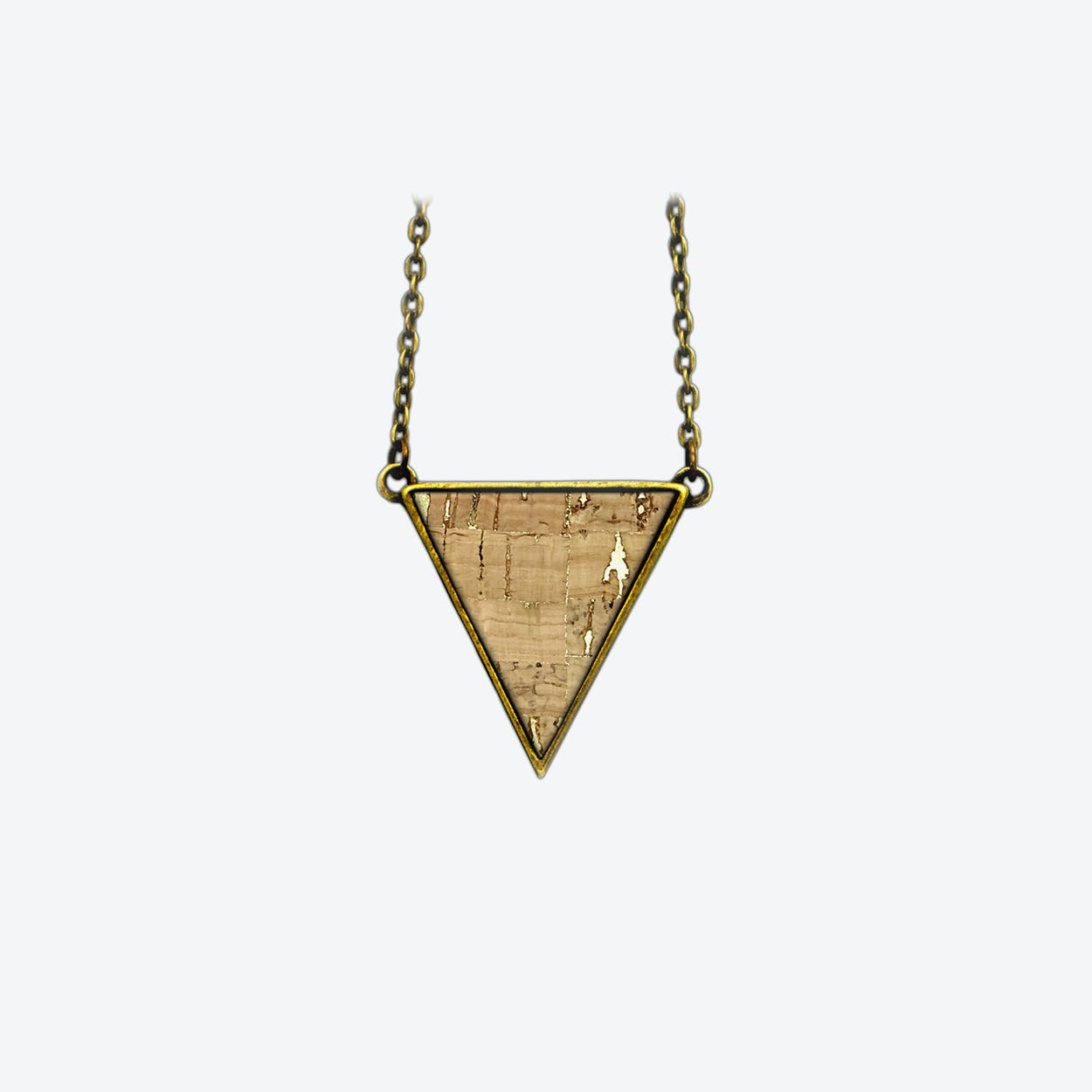 Cork Triangle Necklace in Nature Sparkle